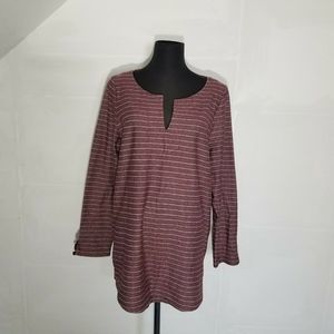 Talbots Sweater 1X Striped Notch Neckline Burgundy